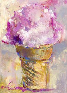 size: Giclee Print: Ice Cream Cone by Richard Wallich : Ice Cream Painting, Ice Cream Art, Caribbean Art, Smart Art, Art Challenge, Canvas Art Prints, Framed Canvas, Framed Prints, Painting Inspiration