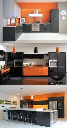Have a fabulous contemporary kitchen with orange and black colors Morden Kitchen Design, Kitchen Room Design, Luxury Kitchen Design, Contemporary Kitchen Design, Home Decor Kitchen, Interior Design Kitchen, Kitchen Furniture, Diy Kitchen, Orange Kitchen Decor