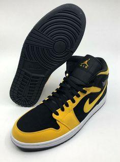 8929b924e16 NIKE 554724-071 Air Jordan Retro 1 Mid Reverse Love Black Yellow Size 10.5  Box