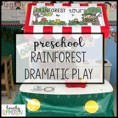Preschool Rainforest Dramatic Play — Lovely Commotion Preschool Activities , Games and Resources - insightful. Rainforest Preschool, Rainforest Classroom, Rainforest Theme, Preschool Centers, Preschool Classroom, Preschool Activities, Jungle Activities, Infant Classroom, Kindergarten Games