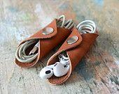 Leather Cord holder. iPhone cable organizer. Handmade. 2 pcs (Diy Tech Bag)