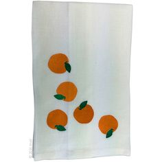 Anali's Make it a Mimosa embroidered design is available on white linen Tea towels.