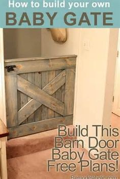 Barn door Gate for the home. Randolph Pritchett DIY Barn Door Baby Gate (Plans and photos!) I AM thinking a great gate to keep our dog in the mud room as well Baby Gate For Stairs, Barn Door Baby Gate, Diy Barn Door, Pet Gate, Door Gate, Baby Door, Doggie Gates, Puppy Gates, Baby Barn