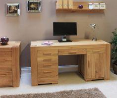 Atlas Solid Oak Twin Pedestal Desk - Home Office/ PC desks - Office