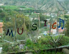 Móvil de viento  Vidrio  Transparente  por TuulaGiraldoArtGlass