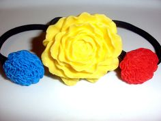 RED BLUE YELLOW  flower hair band hair accessories set of 3 ponytail holders elastics lot primary colors. $12.00, via Etsy.