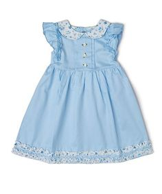 This Blue Floral Angel-Sleeve Dress - Toddler is perfect! #zulilyfinds