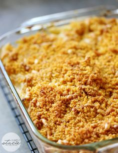 Tuna Noodle Casserole- creamy noodles topped with a crunchy cheesy topping. Chip dip is the secret ingredient!