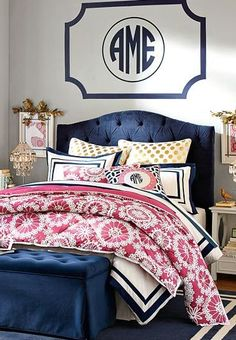 Get inspired with teen bedroom decorating ideas & decor from pbteen. from videos to exclusive collections, accessorize your dorm room in your unique style. Dream Bedroom, Home Bedroom, Girls Bedroom, Bedroom Decor, Preppy Bedroom, Bedroom Ideas, Preppy Bedding, Master Bedroom, Pink Bedrooms