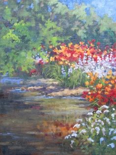 """Daily Paintworks - """"SOLD Yellow Breeches Garden An Original Plein Air Oil Painting by Claire Beadon Carnell"""" - Original Fine Art for Sale - © Claire Beadon Carnell"""