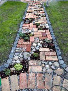 Unique Gardens, Amazing Gardens, Beautiful Gardens, Rustic Gardens, Garden Yard Ideas, Diy Garden Decor, Garden Decorations, Garden Ideas With Bricks, Garden Projects