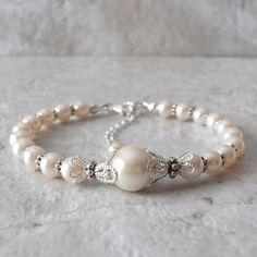 Wedding Jewelry Ivory Pearl Bracelet Beaded by FiveLittleGems