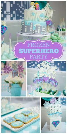 A Frozen girl birthday party combined with a superhero theme with pretty party decorations!  See more party planning ideas at CatchMyParty.com!