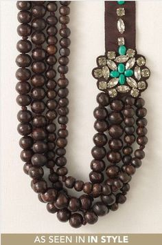 stella and dot wood bead necklace