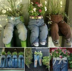 We all have some old trousers in the bottom of the cupboards - why not plant some up!