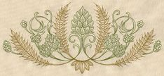 Hops and Grain Crest | Urban Threads: Unique and Awesome Embroidery Designs