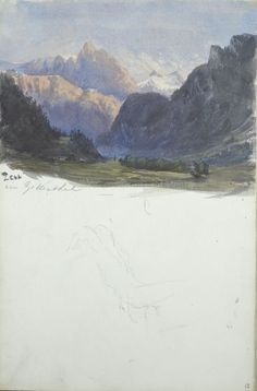 John Singer Sargent American (Florence, Italy 1856 - 1925 London, England) Mountain Landscape, Zell im Zillerthal; Reclining Figure (?), 1870 - 1871 Drawing, Sketchbook Page American, 19th century Watercolor on off-white wove paper 36.1 x 23.7 cm (14 3/16 x 9 5/16 in.)