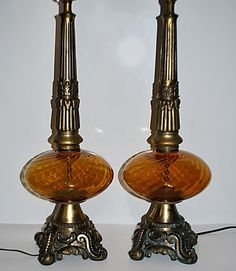 Pair Vtg Hollywood Regency Amber Swirl Glass Globe Table Lamps w/ Acanthus Base #VintageHollywoodRegency