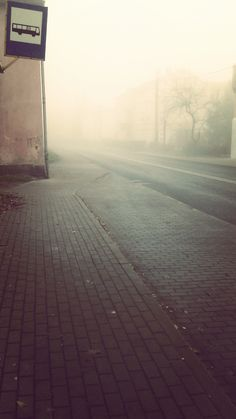#street #bus #stop #fog #morning