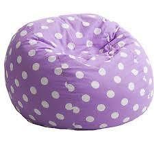 Gorgeous Purple W White Dots Fuf Large Bean Bag Chair