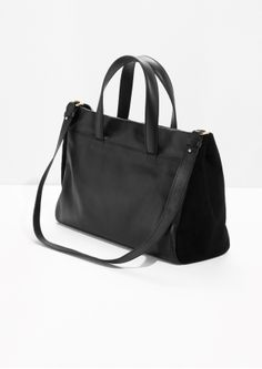 & Other Stories image 2 of Leather And Suede Tote in Black