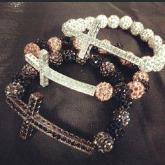 SPARKLY Stretch Cross Bracelets $14 ea #sparkly #bling #armcandy #crosses #bracelets / http://www.contactchristians.com/?p=10098