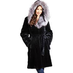 FRR Scarlett Rex Rabbit Fur Wrap Coat with Silver Fox Fur Hood ($2,000) ❤ liked on Polyvore featuring black