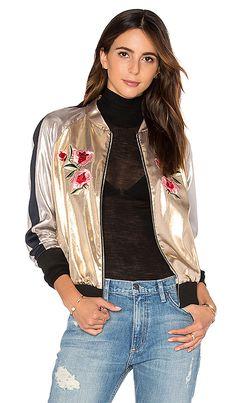 Frankie Embroidered Bomber Jacket in Light Gold | REVOLVE