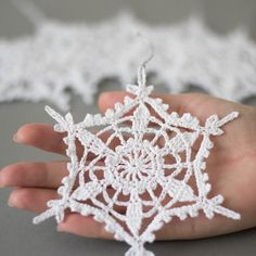 Set of 6 crochetChristmas snowflakes. Handmade Christmas ornaments made with high quality cotton thread in smokefree and petfree environment. Each snowflakes measures 5.1 x 5.1 approx. (13 cm x 13 cm) Starched to keep them in shape. They arrive well packed in a sturdy box. For other crocheted items, please visit my shop: https://www.etsy.com/shop/SevisMagicalStitches?ref=l2-shopheader-name For hand knitted items, please visit my other shop: https://w...