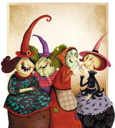little witches-halloween inspired whimsy art Photo Halloween, Halloween Vintage, Fete Halloween, Halloween Pictures, Holidays Halloween, Halloween Crafts, Happy Halloween, Halloween Decorations, Halloween Witches