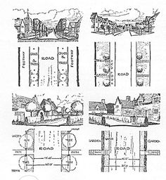 Fig 3 - Examples of roads and drives used at Earswick, letchworth and Hampstead (35k)