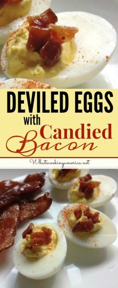 Deviled Eggs with Candied Bacon will disappear rapidly from any buffet table or potluck! Make this recipe any time of year for a holiday gathering. Candied Bacon Recipe, Bacon Recipes, Egg Recipes, Cooking Recipes, What's Cooking, How To Cook Eggs, What To Cook, Relish Trays, Deviled Eggs Recipe