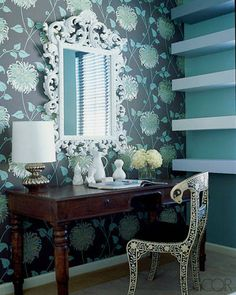 A FLORAL STUDY  The study's antique desk is from RD Imports, and the Nelson Minor lamp is by Jonathan Adler; the wallpaper is from Astek Wallcoverings.  Love the Chair who makes this?  Antique Morrocan?  ELLE DECOR