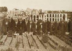 Circo Massimo e il lato sud del Palatino ripresi dagli orti alle pendici dell'Aventino. Tra  i filari di cipressi si intravede la struttura circolare del Gazometro, spostato sulla via Ostiense nel 1910.