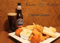 Our famous catfish fritters. Hand battered, flaky catfish fritters served with french fries, hush puppies and coleslaw. Try the best catfish on the Illinois River, only at Evandy's Boatel.