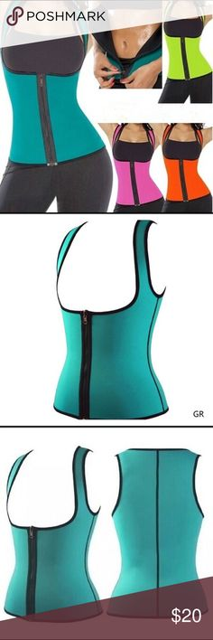 Sweat Enhancing Waist Training Corset Note:inside is black,both sides are wearable!!!!! 100% New and High Quality!!!  Colour: green             Material: Spandex. Tag says xxl but futs like xl Tops