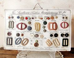 antique button sample card - salesman's vintage board buckles and haberdashery - 1930s art deco style