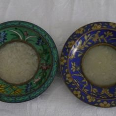 CHINESE CLOISONNE ENAMEL DISH CRAFTED JADE APPLIQUE SET