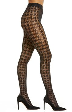 Wolford Dylan Houndstooth Fishnet Tights - See more tights at www.fashion-tights.net ‪#tights #pantyhose #hosiery #nylons #fashion #legs‬ #legwear #advertising #influencer #collants