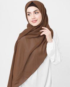 Cocoa Brown Poly Georgette Hijab Street Hijab Fashion, Muslim Fashion, Modest Fashion, Hijab Collection, Hijab Tutorial, Hijab Chic, Beautiful Hijab, Hijab Outfit, Muslim Women
