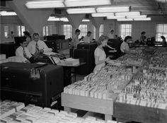 Workers in the tabulating department of Winn & Lovett Grocery Company - Jacksonville, Florida 1949 (Winn & Lovett is now known as grocery giant Winn-Dixie and is still headquartered in Jacksonville)