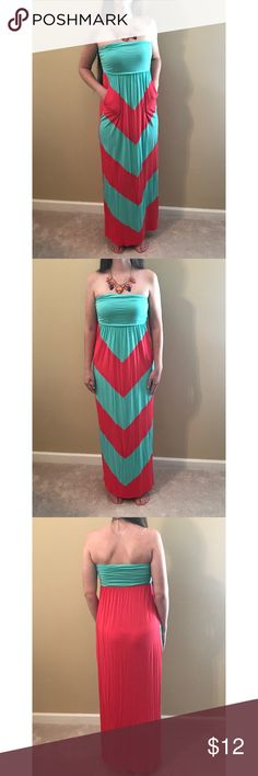 Dress & Necklace Red Dress Boutique Chevron Pattern Dress and Statement Necklace Coveted Clothing Dresses Maxi