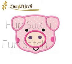 pig applique machine embroidery design by FunStitch on Etsy, $2.59