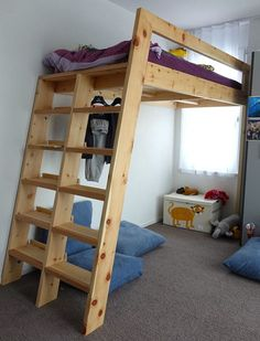 Loft Beds With Bookshelf Ladders: 14 Steps (with Pictures) Build A Loft Bed, Loft Bed Plans, Pallet Loft Bed, Bedroom Loft, Kids Bedroom, Lego Bedroom, Bunk Beds With Stairs, Loft Beds, Ladder Bookshelf
