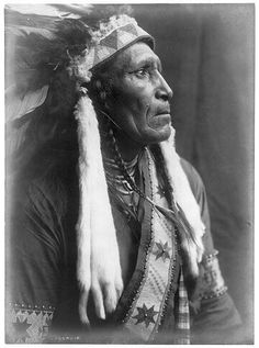 Raven Blanket, Nez Perce, wearing several necklaces and warbonnet with ermine streamers. Edward Curtis 1910.