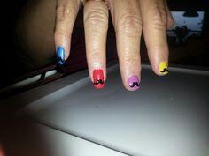 Mustache multicolor nails
