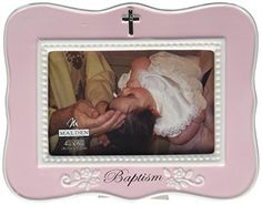 Malden Ceramic Milestone Picture Frame Pink Baptism 4 x 6 >>> Home decor details can be found by clicking on the image.