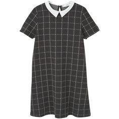 Babydoll Dress ($34) ❤ liked on Polyvore featuring dresses, zipper dress, pattern dress, short-sleeve dresses, short sleeve babydoll dress and zip dress