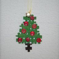 Preschool Crafts for Kids*: Puzzle Piece Christmas Tree Ornament Craft