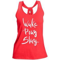 Wake Pray Slay Shimmer Loop Back Tank For Her